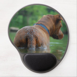 Chocolate Lab Pit Mix Dog Swimming 4 Gel Mouse Pad