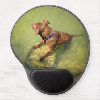 Chocolate Lab Pit Mix Dog Swimming 6 Gel Mouse Pad