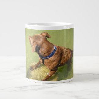 Chocolate Lab Pit Mix Dog Swimming 6 Large Coffee Mug