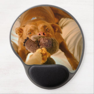 Chocolate Lab Pit Mix Dog Tugging Gel Mouse Pad