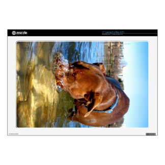 """Chocolate Lab Pit Puppy Blowing Bubbles Decal For 17"""" Laptop"""