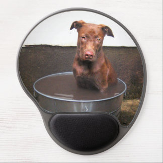 Chocolate Lab Pit Puppy in a Bucket Gel Mouse Pad