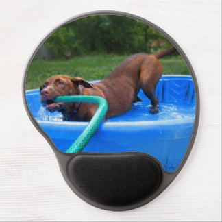 Chocolate Lab Pit Puppy in Wading Pool 2 Gel Mouse Pad