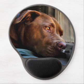 Chocolate Lab Pit Puppy Window Watching Gel Mouse Pad