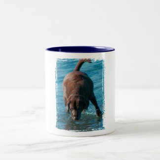 Chocolate Lab playing Two-Tone Coffee Mug