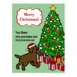 Chocolate Lab Puppy and Christmas Tree Post Card