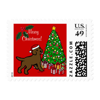 Chocolate Lab Puppy and Christmas Tree Stamp
