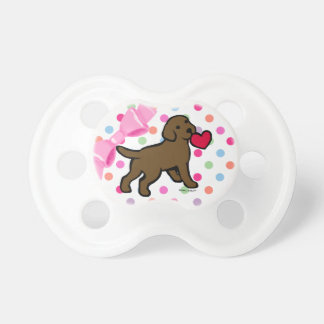 Chocolate Lab Puppy and Red Heart Baby Pacifier