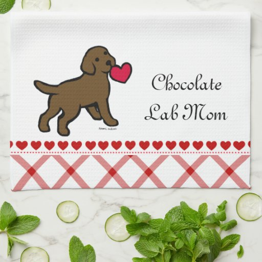 Chocolate Lab Puppy and Red Heart Hand Towels