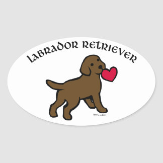 Chocolate Lab Puppy and Red Heart Oval Sticker