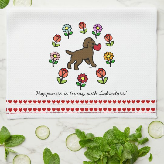 Chocolate Lab Puppy and Red Heart Towels