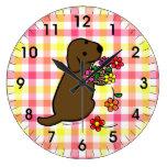 Chocolate Lab Puppy Flower Basket Cartoon Wall Clock