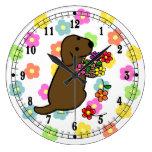 Chocolate Lab Puppy Flower Basket Cartoon Clock
