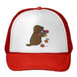 Chocolate Lab Puppy Flower Basket Cartoon Trucker Hat