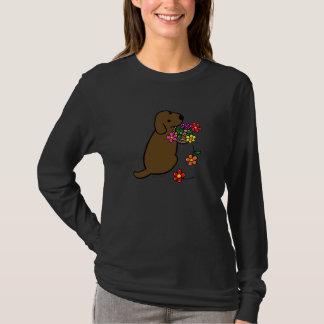 Chocolate Lab Puppy Flower Basket Cartoon T-Shirt
