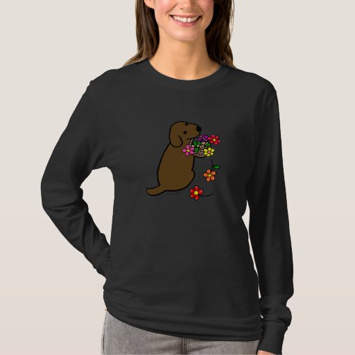 Chocolate Lab Puppy Flower Basket Cartoon T-Shirt