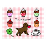 Chocolate Lab Puppy Heart Cartoon Postcard