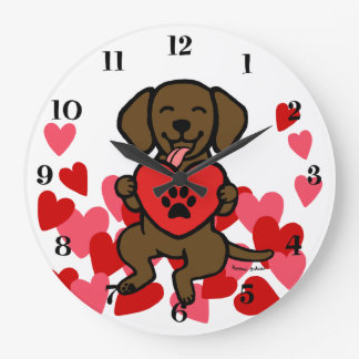 Chocolate Lab Puppy Paw Print Heart Large Clock