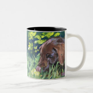 Chocolate Lab Puppy Two-Tone Coffee Mug