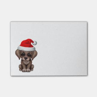 Chocolate Lab Puppy Wearing Santa Hat Post-it® Notes