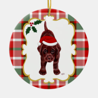 Chocolate Lab Puppy with Santa Hat 2 Christmas Tree Ornament