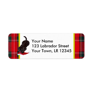 Chocolate Lab Puppy with Santa Hat Christmas Custom Return Address Labels