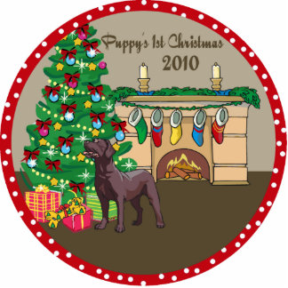 Chocolate Lab Puppy's 1st Christmas Ornament 2010