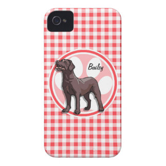 Chocolate Lab; Red and White Gingham Case-Mate iPhone 4 Cases
