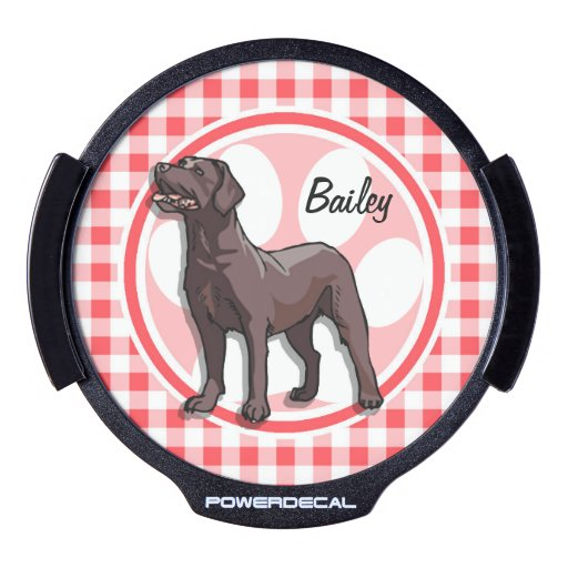 Chocolate Lab; Red and White Gingham LED Car Window Decal