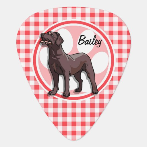 Chocolate Lab; Red and White Gingham Guitar Pick