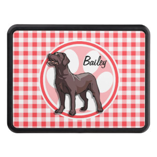 Chocolate Lab; Red and White Gingham Hitch Cover