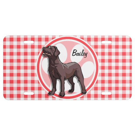 Chocolate Lab; Red and White Gingham License Plate