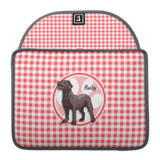 Chocolate Lab; Red and White Gingham Sleeves For MacBooks