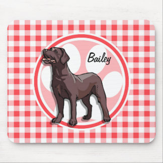 Chocolate Lab; Red and White Gingham Mouse Pad