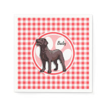 Chocolate Lab; Red and White Gingham Paper Napkin