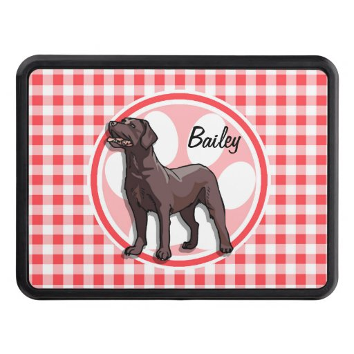 Chocolate Lab; Red and White Gingham Trailer Hitch Cover