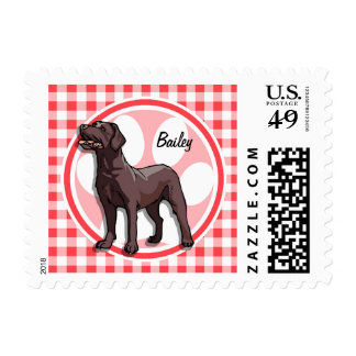 Chocolate Lab; Red and White Gingham Postage