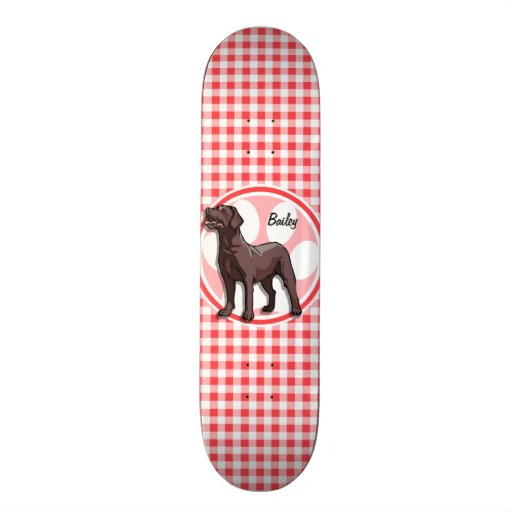 Chocolate Lab; Red and White Gingham Skateboard