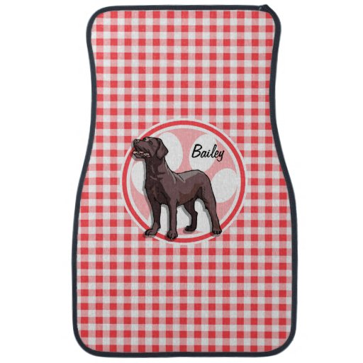 Chocolate Lab; Red and White Gingham Floor Mat