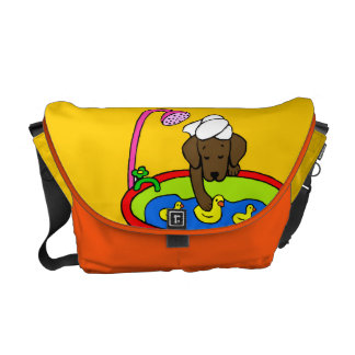 Chocolate Lab & Rubber Ducks Cartoon Courier Bag