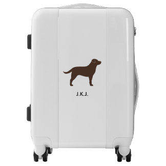 Chocolate Lab Silhouette Personalized Luggage