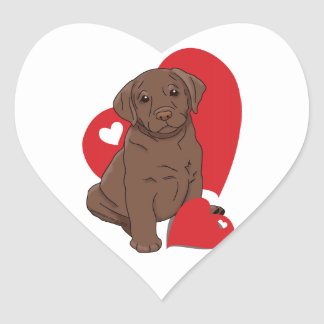 Chocolate Lab Valentine Hearts Stickers