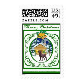 Chocolate Lab Vintage Christmas Postage Stamps