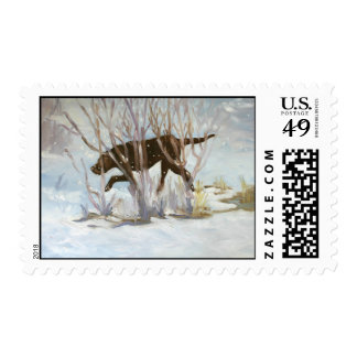Chocolate Lab Winterscape Stamp