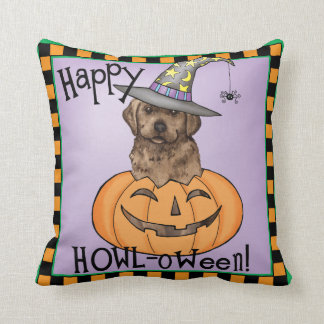 Chocolate Lab Witch Throw Pillow