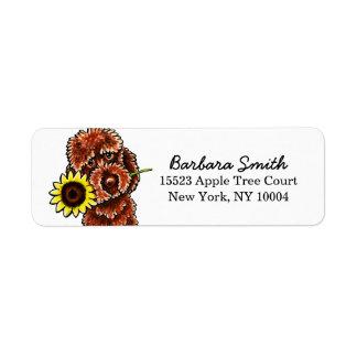 Chocolate Labradodle Sunflower Off-Leash Art™ Label