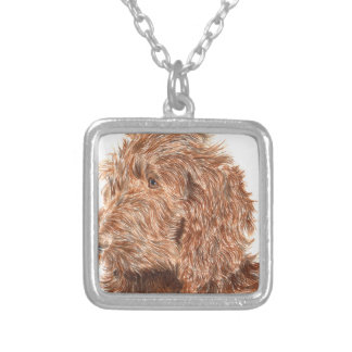 Chocolate Labradoodle Silver Plated Necklace