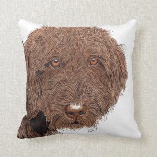 Chocolate Labradoodle Throw Pillows