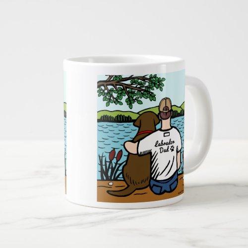 Chocolate Labrador and Dad Lake View 20 Oz Large Ceramic Coffee Mug