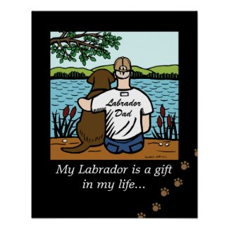 Chocolate Labrador and Dad Poster